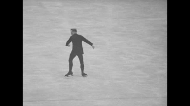 vs austrian skater karl schafer performing figure skating routine in olympic arena / note exact day not known - 1932 winter olympics lake placid stock videos and b-roll footage