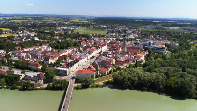 austrian town of braunau am inn as viewed from germany - austria stock videos & royalty-free footage