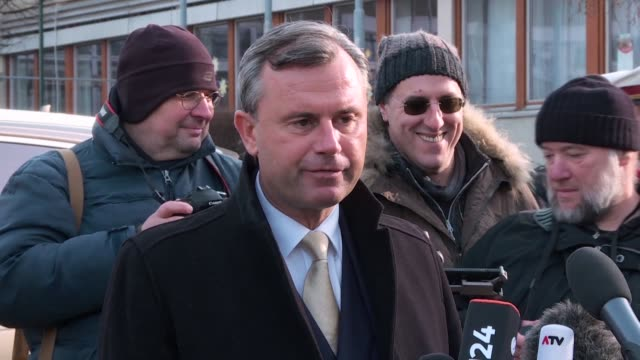 austria's far right presidential candidate norbert hofer of the hardline freedom party says he has a good feeling after casting his vote in his... - hometown stock videos and b-roll footage