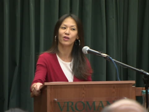 """stockvideo's en b-roll-footage met author amy chua sot saying her book """"battle hymn of the tiger mother"""" is a memoir, not a parenting book. chua set off quite a bit of controversy with... - um animal"""