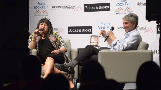 author e l james come to tears while talking about her kids in conversation with mitchell kaplan about her new book 'the mister' at adrienne arsht... - performing arts center stock videos & royalty-free footage