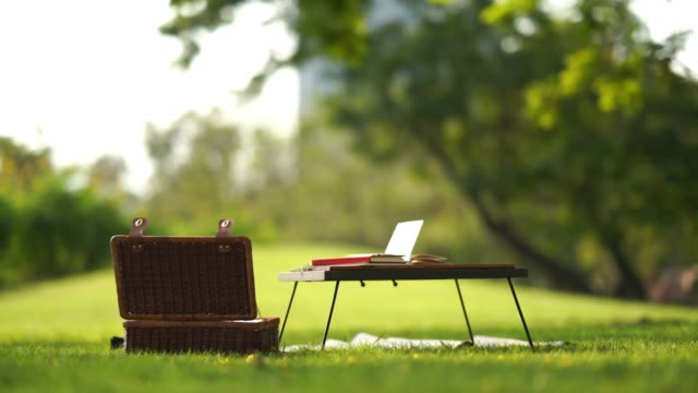 author equipment on picnic table in garden - diary stock videos & royalty-free footage