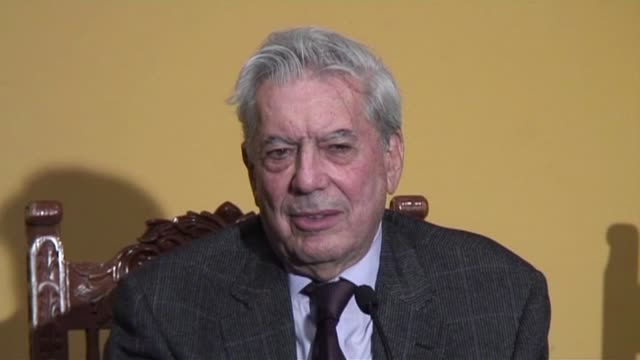 author mario vargas llosa, who received the nobel literature prize in stockholm on friday, said he felt tired but 'extremely eager' to resume his... - nobel prize in literature stock videos & royalty-free footage