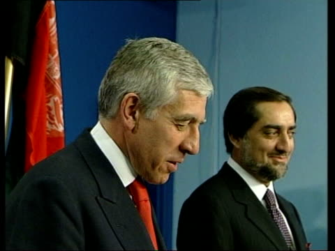 Authorities Open Fire on Protestors ENGLAND London INT Foreign Minister Jack Straw MP and Afghani counterpart Abdullah Abdullah along for press...