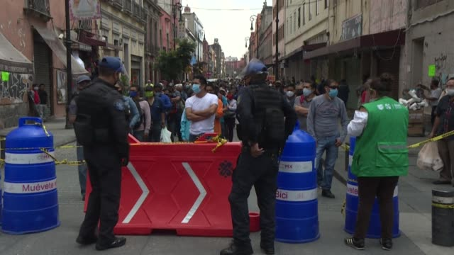 authorities set up checkpoints in mexico city's zocalo district to limit the number of people entering the historic center, check residents' body... - zocalo mexico city stock videos & royalty-free footage