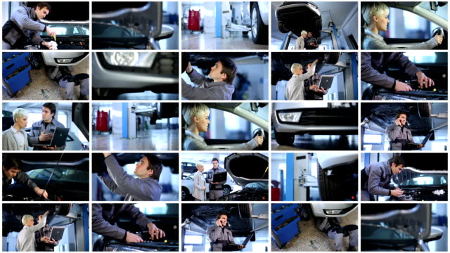 auto mechanic shop. video wall. - montage stock videos & royalty-free footage