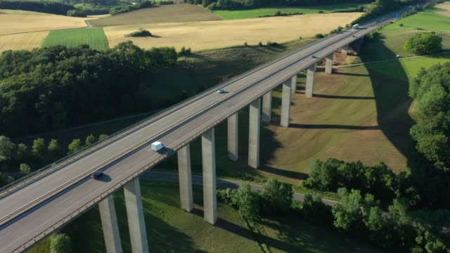 autobahn bridge at sunset - elevated road stock videos & royalty-free footage