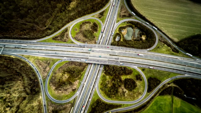 AERIAL: Autobahn / Highway Overpass in Germany