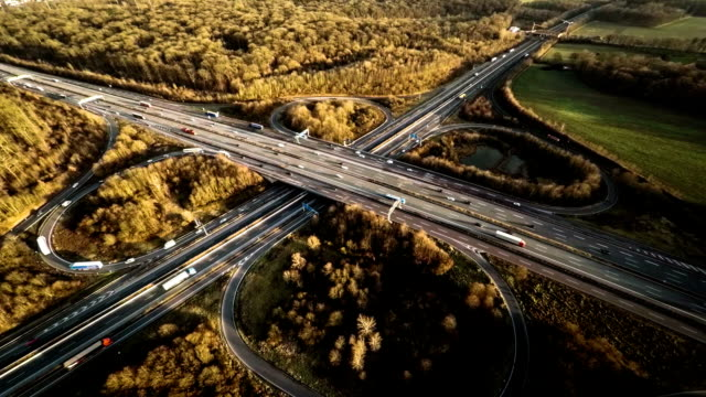 aerial: autoban interchange in germany - major road stock videos & royalty-free footage