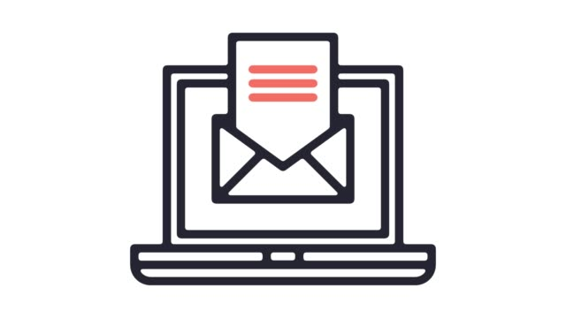 automated emails line icon animation with alpha - e mail stock videos & royalty-free footage