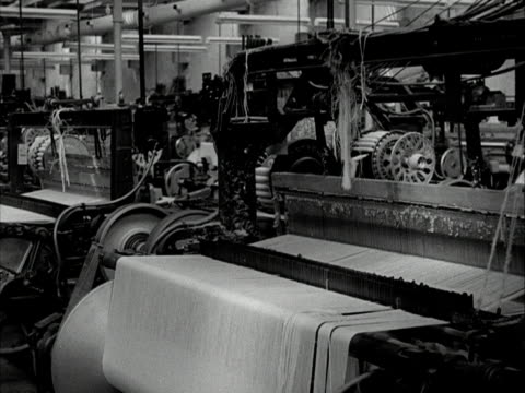 automated looms in a cotton mill 1960 - loom stock videos & royalty-free footage