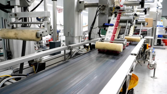 automated machine for labels in fruit farm factory. - efficiency stock videos & royalty-free footage