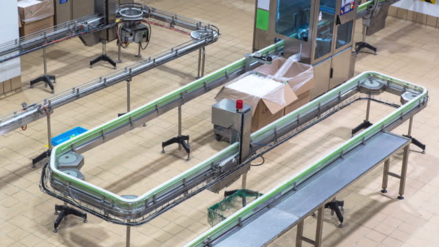 automation production line in milk factory timelapse - food processing plant stock videos and b-roll footage
