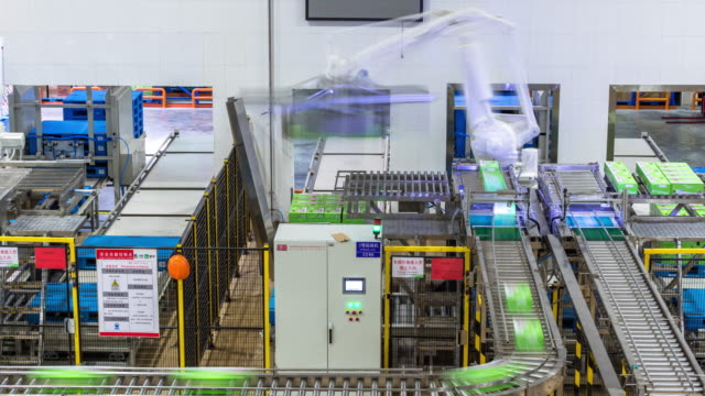 automation production line in milk factory timelapse - conveyor belt stock videos & royalty-free footage