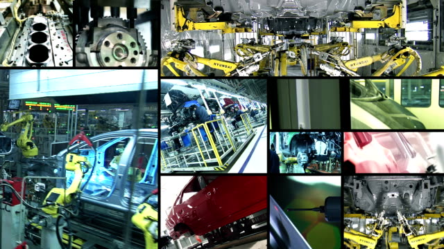 industria automobilistica collage - automobile industry video stock e b–roll