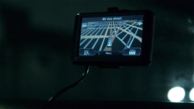 CU POV Automotive navigation system display in car / New York City, New York, USA
