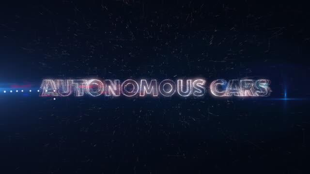 autonomous cars words animation - driverless car stock videos & royalty-free footage