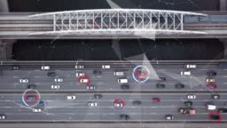 Autonomous Self Driving Car Moving on Highway. Futuristic City. Intelligence Scans Environment. Safely Drives. Aerial Top View