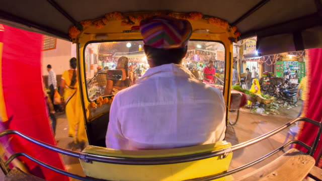 Autorickshaw POV busy old city streets, Udaipur, Rajasthan, India