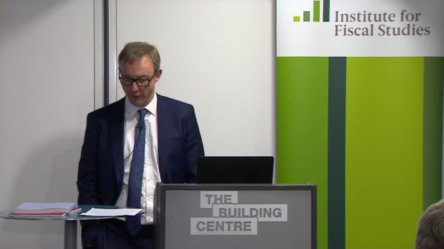 Institute for Fiscal Studies presser ENGLAND London Fitzrovia The Building Centre INT Paul Johnson Institute for Fiscal Studies Director speech SOT...
