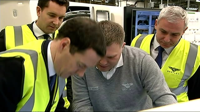 reaction cheshire crewe bentley motors int george osborne mp being shown how to use heat gun by bentley worker on factory floor worker comments on... - borrowing stock videos & royalty-free footage