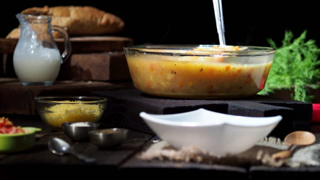 autumn chowder with bacon - chowder stock videos and b-roll footage