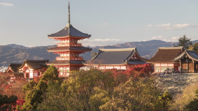 Autumn color at Kiyomizu-dera temple in Kyoto, Japan.