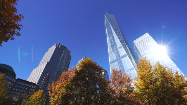 pan autumn color trees surround one world trade center and skyscrapers under clear blue sky at 9/11 memorial. - ローアングル点の映像素材/bロール