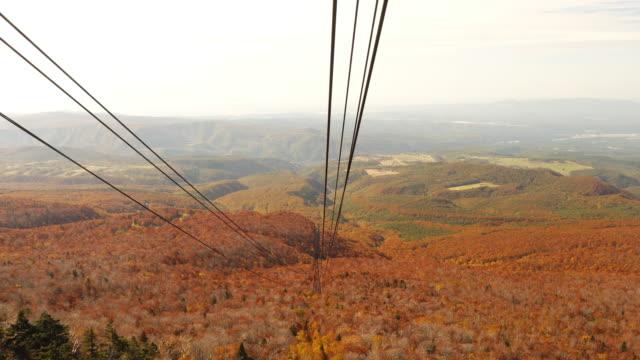 autumn colour season of hakkoda mountain and cable car riding to the summit, aomori, japan. - aomori prefecture stock videos & royalty-free footage