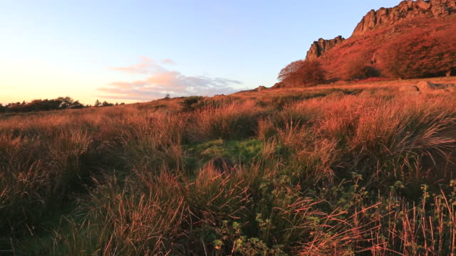 autumn colours over hen cloud rocks and the roaches rocks, - the roaches stock videos and b-roll footage
