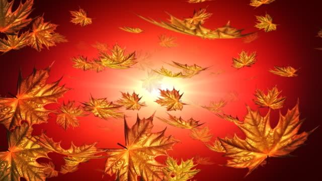Herbst falling leafs auf rotem Hintergrund