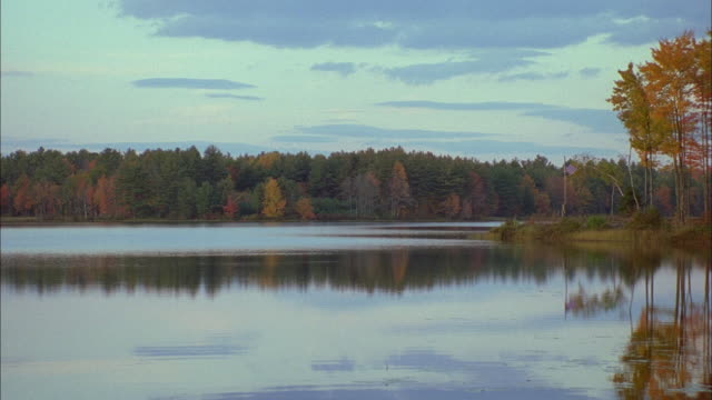 autumn foliage surrounds a lake. available in hd. - eskapismus stock-videos und b-roll-filmmaterial