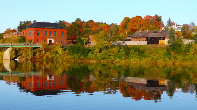 autumn in augusta, maine - kennebec river stock videos & royalty-free footage