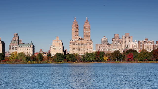 autumn in central park reservoir - real time stock videos & royalty-free footage