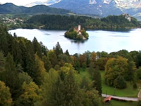 autumn in slovenia from air, lake bled - lake bled stock videos & royalty-free footage