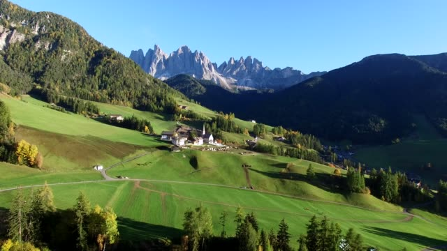 Autumn in the Dolomites Alps, Aerial view.