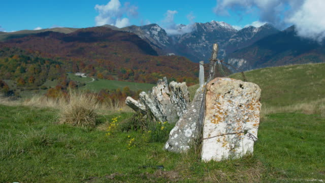autumn in the regional natural park of lessinia. old stone border wall v2 - stone wall stock videos and b-roll footage