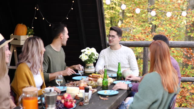 autumn is here! let's have a lunch outside! - brunch stock videos & royalty-free footage