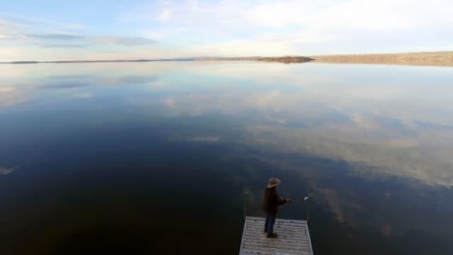 Autumn lake fishing