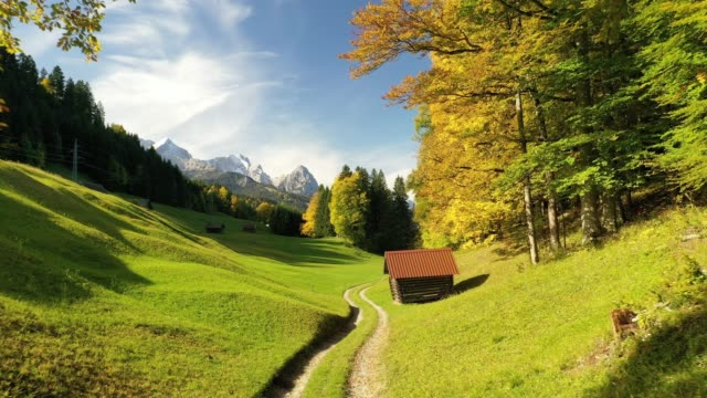 stockvideo's en b-roll-footage met autumn landscape, upper bavaria, germany, europe - bavarian alps