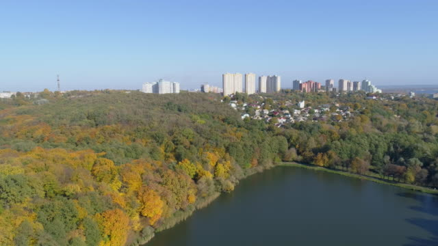 Autumn leaf colors. Aerial view of Holoseevo Park in Kiev