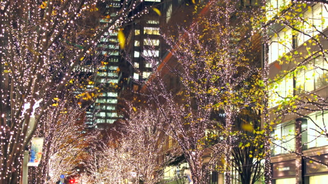 Autumn leaves are slightly left on Illuminated rows of trees for Christmas season, which shake and fall by winter wind at Marunouchi Naka-Dori Street at Marunouchi Chiyoda Tokyo Japan on Dec. 13 2017. Marunouchi district skyscrapers can be seen behind.