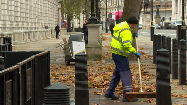 autumn leaves being swept up outside downing street - leaf stock videos & royalty-free footage
