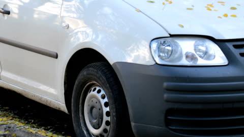 vidéos et rushes de feuilles d'automne sur la voiture. - voiture particulière