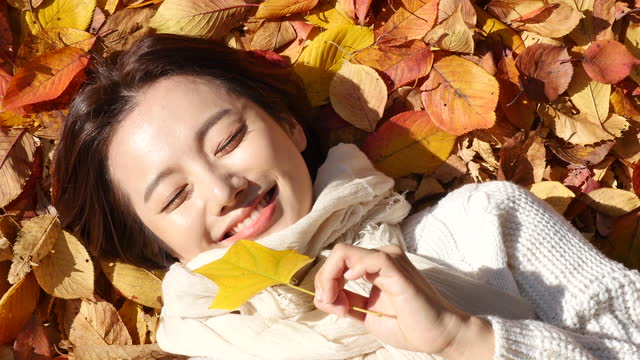 autumn mood - young woman lying in park and enjoying autumn with holding fallen leaves - jumper stock videos & royalty-free footage
