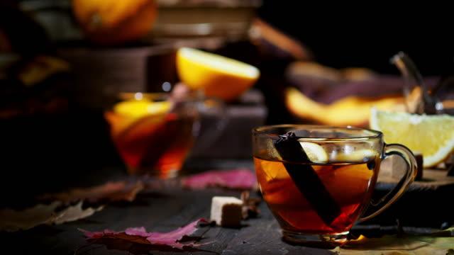 autumn orange tea - sugar cube stock videos & royalty-free footage