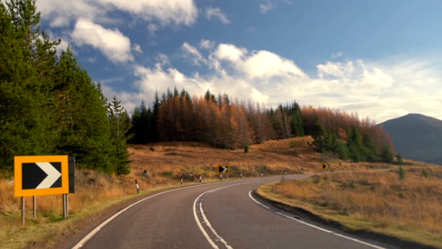 slo mo autumn road, taken from forest road trip driving in highland, scotland, uk - moving down video stock e b–roll