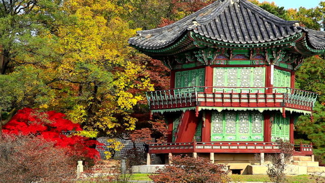 Autumn Scenery of Hyangwonjeong Pavilion (National Treasure of South Korea 1761) in Gyeongbokgung