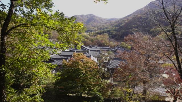 autumn scenery of songgwangsa temple / suncheon-si, jeollanam-do, south korea - chan buddhism stock videos & royalty-free footage