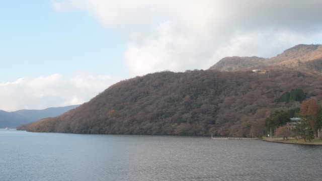 Autumn scenic landscapes above Lake Ashi, Owakudani Valley in Hakone, Japan